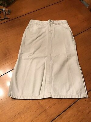Old Navy Kid Girls Extra Long Off White Cotton Cargo Skirt Sz 6