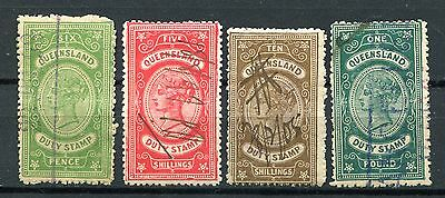 Australia Queensland 4 Qv Stamp Duty Values To £1 Used