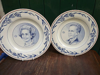1991 King Baudouin of Belgium Pair of Delft Plates for 40th Anniversary Reign