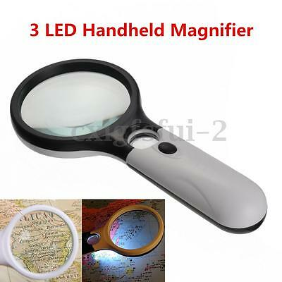 45x Large Magnifying Glass Light With 3 LED Magnifier Reading Aid Jewelry Loupe