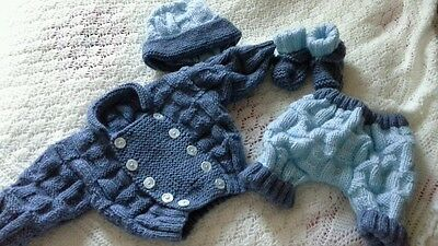 "Hand Knitted Set To Fit 19""-20"" Reborn Baby Doll"