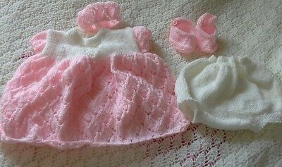 "Hand Knitted Set To Fit 16""-18"" Reborn Baby Doll"