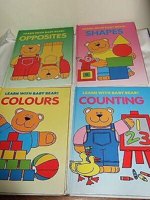 4 Learn With Baby Bear Books - Vintage - Colours - Counting - Shapes - Opposites
