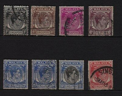 V75) Lot x8 TIMBRES Classic-stamps (Oblitéré-Used) MALAYA SINGAPORE SINGAPOUR