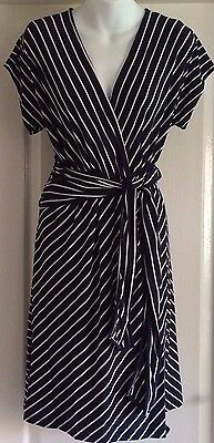New~Jojo Maman Bebe~Maternity Mock Wrap Dress  L Navy Blue Stripe Jersey