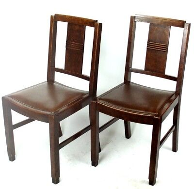 Art Deco pair of Oak Wood Dining Chairs | Patina - PRICE IS FOR PAIR [PL2033B]