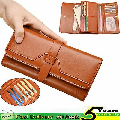 Fashion Ladies Women Genuine Leather Wallet Purse Zip Trifold Handbag Phone Card