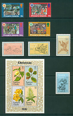 PITCAIRN ISLANDS & SAMOA FLOWERS mint never hinged CHRISTMAS STAMPS (12 stamps)