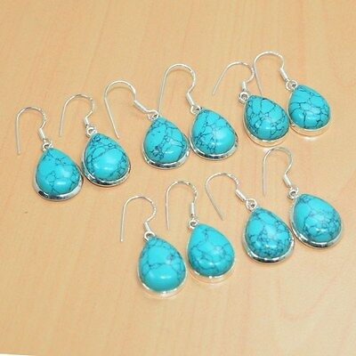 925 Solid Sterling Silver Wholesale 5Pair Blue Turquoise Hook Earring Lot 1.5L""