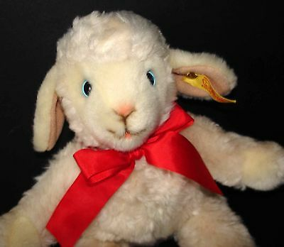 "Adorable Super Soft Plush Lamb 11"" Steiff ""poppy Lamm"" Complete W/button"