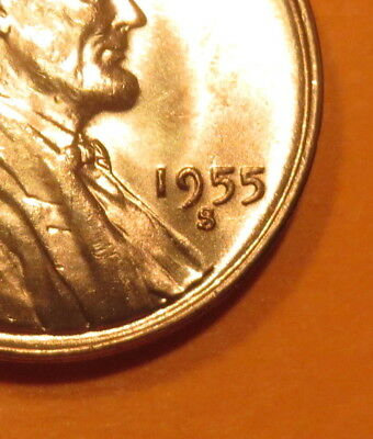 """(((UNC. 1955 S COPPER PENNY--""""S/s"""" ANOMALY STRIKE MMS-008)))*"""