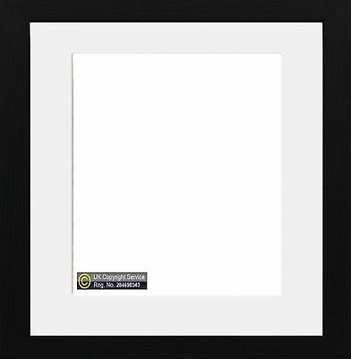Black Square Photo Picture Frame With Mount Border White Ivory Black Blue Mount