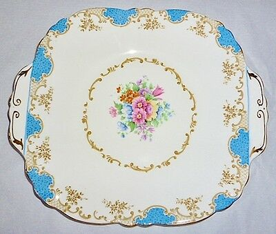 Antique (1906+)~English Crown Staffordshire~Cake Plate~Blue/ Gold/ Flowers