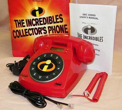 Disney's The Incredibles Red Phone Telephone, Caller ID, Waiting, Voice Mail