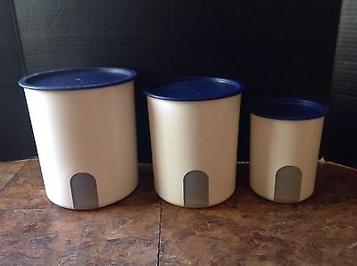 Tupperware Canisters  One Touch Canisters with see through window  white w/blue