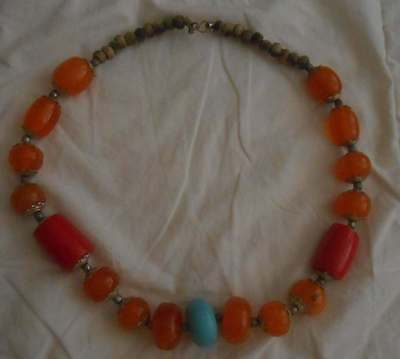 Replica Antique Moroccan Amber Carnelian Turquoise Bead Necklace 11""
