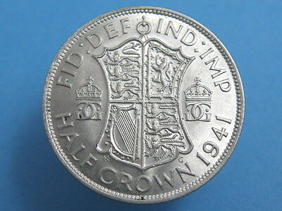 1941 King George VI - SILVER HALFCROWN COIN - Good grade