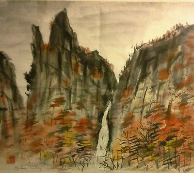 Japanese Sohun Valley Water Fall Signed Ink & Color Painting Hokkaido