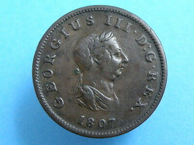 1807 King George III  - COPPER HALFPENNY COIN