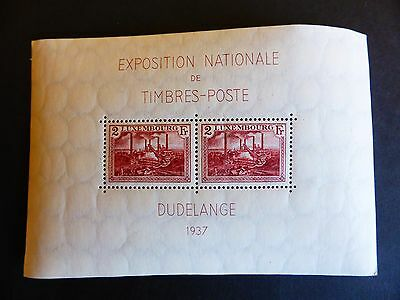 LUXEMBOURG 1937 YT bloc n° 2** EXPOSITION INTERNATIONALE - DUDELANGE - 1937