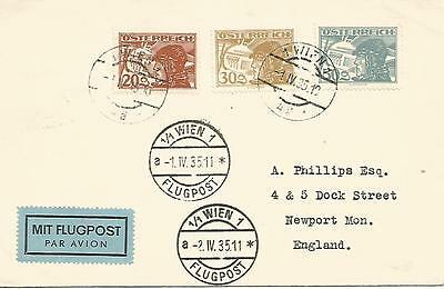 1935   Airmail Cover   Austria to Newport Mon