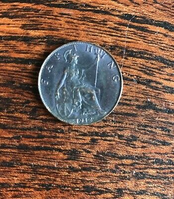 1912 Farthing Coin Rare Old Circulated King George V