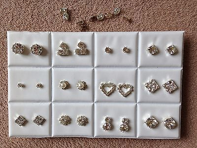 JOB LOT-12 pairs of different styles crystal diamonte. Silver plated.UK made.