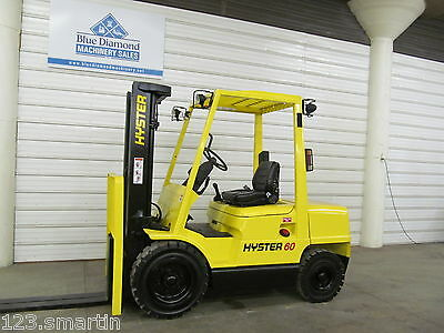 Hyster H60XM 6,000 Pneumatic Tire Forklift, DIESEL, 3 Stage, S/S, GLP060, NICE!!
