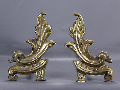 French Louis xv style Cast Iron & Brass Fireplace Andirons