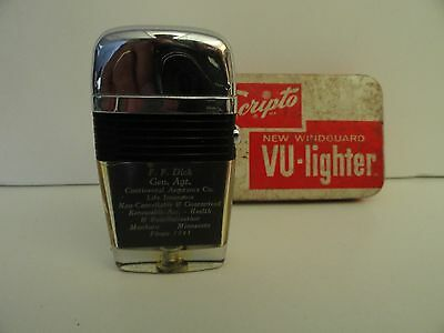 Vintage Scripto VU Lighter F.F. Dick Life Insurance Co. Black Band in Tin