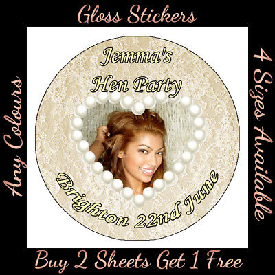 Personalised VINTAGE Pearl Lace Print B2G1F Photo STICKERS Hen Birthday Party