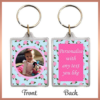 Personalised SHABBY CHIC Photo KEYRING Rose Grandma Mum aunt Xmas Birthday gift