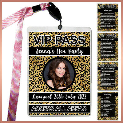Personalised LEOPARD Print VIP Pass Lanyard + Badges Hen Night Party - Photo bag