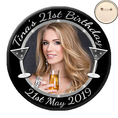 Personalised COCKTAIL Photo PIN BADGE Button fr Hen Night  Birthday Party - 58mm
