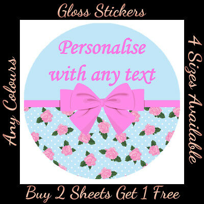 * Personalised SHABBY CHIC BOW STICKERS Hen Party Wedding Birthday Favour Labels