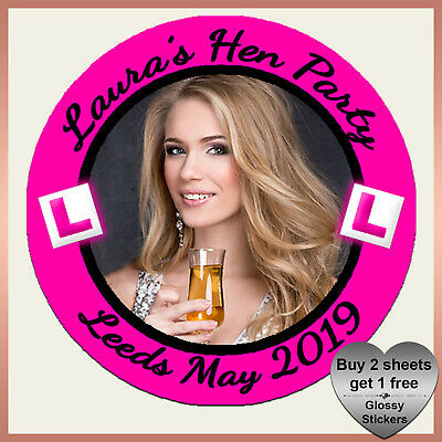 Personalised Photo Hen Party Night L Plates Stickers **