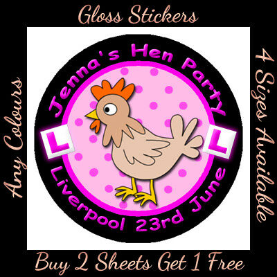 Personalised HEN Night Party Bag Stickers Labels with L-Plates.  ANY COLOURS