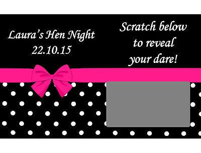 10 x Personalised POLKA DOT BOW DARE SCRATCH CARDS Hen Night Birthday Party Game