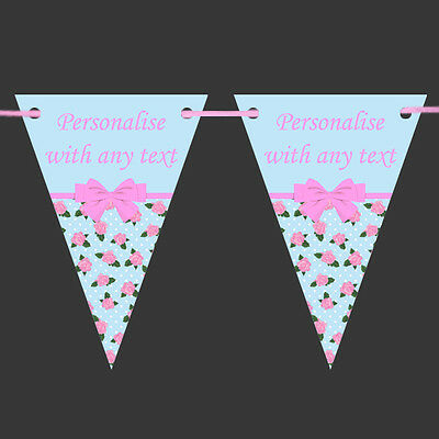 Personalised SHABBY CHIC BOW Wall BUNTING  Banner Wedding Hen Party Birthday