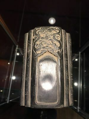 Antique Chinese Ink Water Stone Dragon And Pheonix Poetry Writing