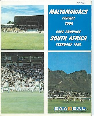 Cricket, South Africa, Brochure For Maltamaniacs Tour 1980