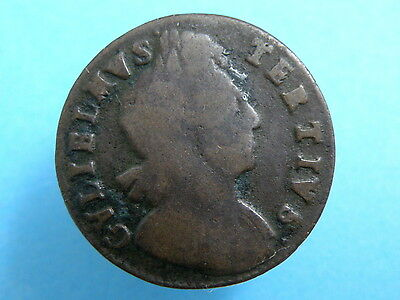 1701 King William III - HALFPENNY COIN - SCARCE VARIETY - Inverted 'A's for 'V's
