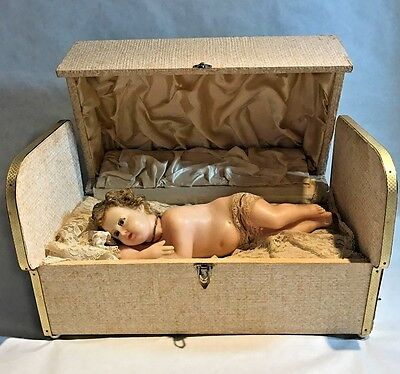 1930s Italian Automaton Wax Baby & Music Box Excellent Working with Music