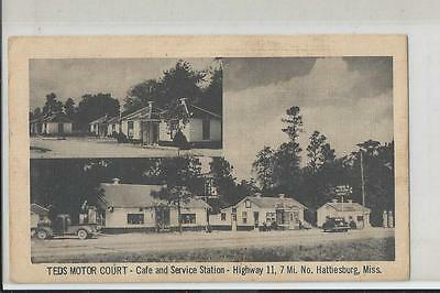 Old Pickup Truck ,Old Gas Pumps at  Ted's Motor Court Hattisburg Ms. Postcard
