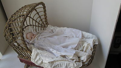 Antique Baby Cradle and Porcelain Doll REDUCTED