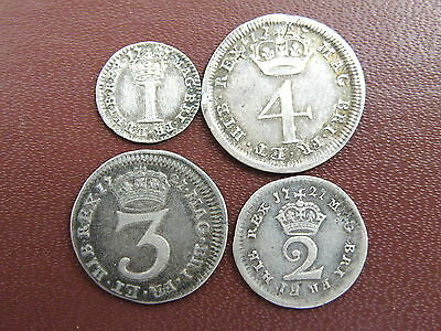 1727 King George I - SCARCE FULL SILVER MAUNDY COIN SET