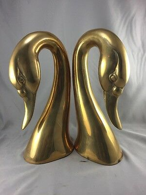 """Vintage Decorative Crafts Brass Swan Head Bust Bookends 10"""" Tall And Heavy"""