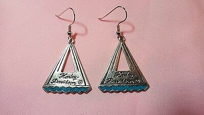 Harley Davidson triangle design earrings with turquoise