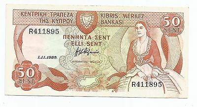 Cyprus, 50 Cents banknote dated, 1.11.1989