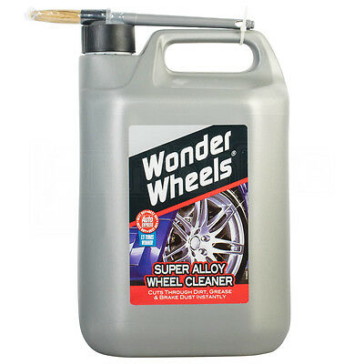 Wonder Wheels Super Alloy Wheel Cleaner & Brush Cuts Dirt & Grease Instantly 5L